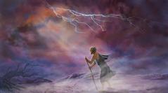 خلال عاصفة ريح، ايوب يرفع نظره الى السماء ويستمع الى يهوه