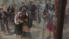 Au pied du poteau de supplice auquel Jésus est attaché, Marie de Magdala console Marie, la mère de Jésus. Non loin se tiennent des hommes, des femmes et un soldat romain.
