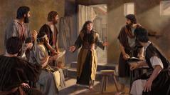 Marija Magdalena prihiti do kraja, kjer so zbrani apostoli in drugi učenci, in jim z veseljem pove: »Videla sem Gospoda!«