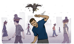 새가 둥지를 틀 듯이 부도덕한 생각이 많은 청소년의 정신에 자리를 잡고 있다. 한 청소년이 부도덕한 생각이 정신에 자리 잡지 못하도록 물리치고 있다.