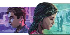 선정적인 광고들에 둘러 싸여 있는 남자 청소년의 모습. 로맨스 영화가 상영되는 영화관 앞에 서 있는 남녀를 여자 청소년이 보고 있는 모습.