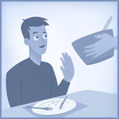 Um jovem prefere não comer mais porque já está satisfeito