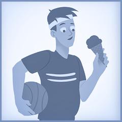 Um jovem toma um sorvete depois de fazer exercícios