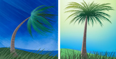 Contrasting scenes comparing a palm tree. 1. Bending over in the wind during a storm. 2. Standing up straight after a storm.