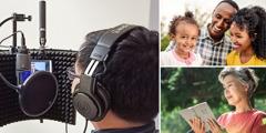 Kolaż: 1. Brat używa mikrofonu isłuchawek wtrakcie nagrania. 2. Zadowolona rodzina. 3. Starsza siostra czyta Biblię.