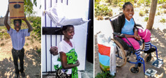 Collage: 1. A brother carries a box of relief supplies on his head. 2. A sister carries a small child on her back and a large bag of relief supplies on her head. 3. A sister sits in a wheelchair with a bag of relief supplies beside her.
