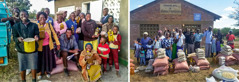 Collage: 1. Brothers and sisters smile as they hold their food supplies. 2. Brothers and sisters stand outside a Kingdom Hall with their food supplies in front of them.