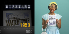 1. A timeline showing monthly circulation; 2. A woman holding a Watchtower magazine