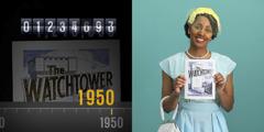 1.Временная шкала, на которой отмечен ежемесячный тираж «Сторожевой башни». 2.Женщина держит в руках журнал «Сторожевая башня»