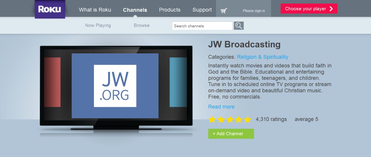 Install the JW Broadcasting App on Roku | Features and Help